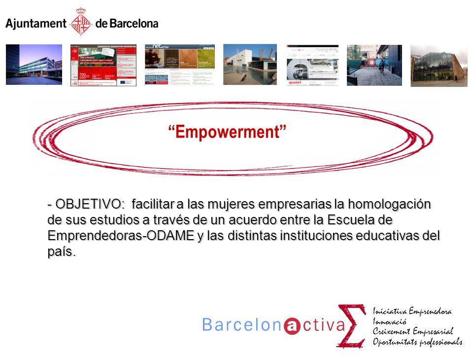 Iniciativa Emprenedora Innovació Creixement Empresarial Oportunitats professionals Empowerment - OBJETIVO: facilitar a las mujeres empresarias la homo