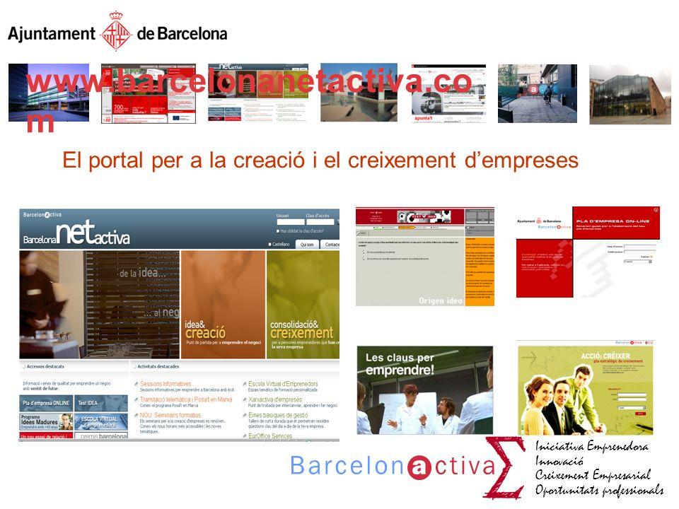 Iniciativa Emprenedora Innovació Creixement Empresarial Oportunitats professionals www.barcelonanetactiva.com El portal per a la creació i el creixeme