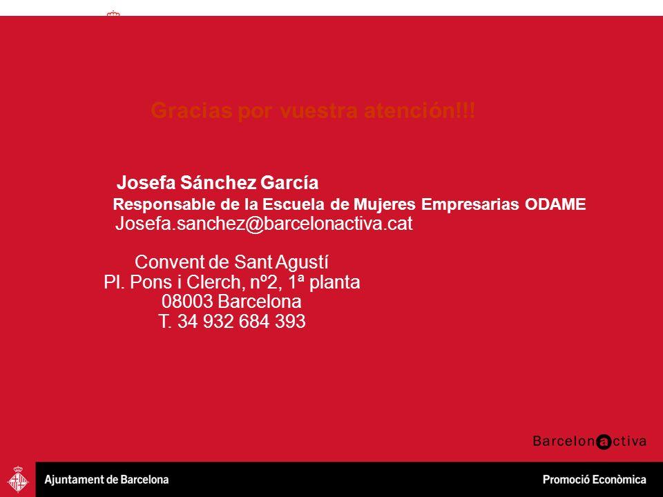 Iniciativa Emprenedora Innovació Creixement Empresarial Oportunitats professionals Gracias por vuestra atención!!! Josefa Sánchez García Responsable d