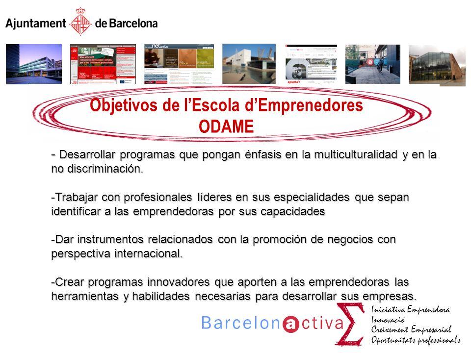 Iniciativa Emprenedora Innovació Creixement Empresarial Oportunitats professionals Objetivos de lEscola dEmprenedores ODAME - Desarrollar programas qu