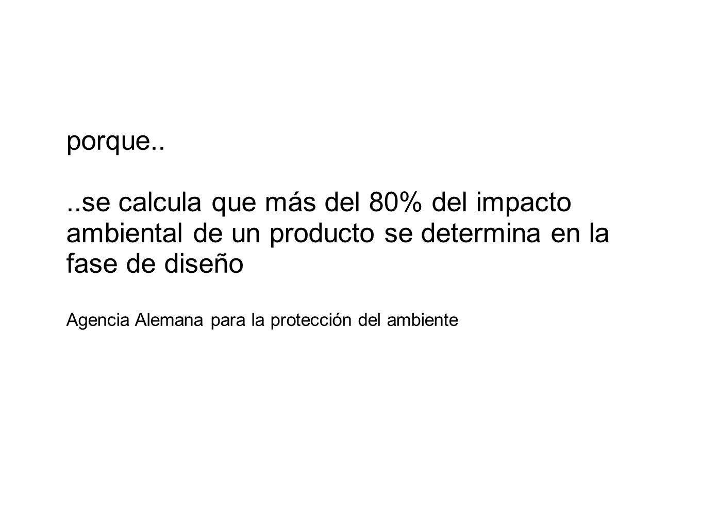 porque....se calcula que más del 80% del impacto ambiental de un producto se determina en la fase de diseño Agencia Alemana para la protección del amb
