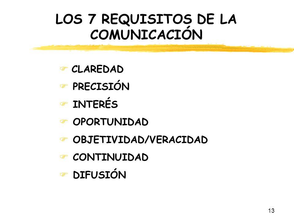 13 LOS 7 REQUISITOS DE LA COMUNICACIÓN CLAREDAD PRECISIÓN INTERÉS OPORTUNIDAD OBJETIVIDAD/VERACIDAD CONTINUIDAD DIFUSIÓN