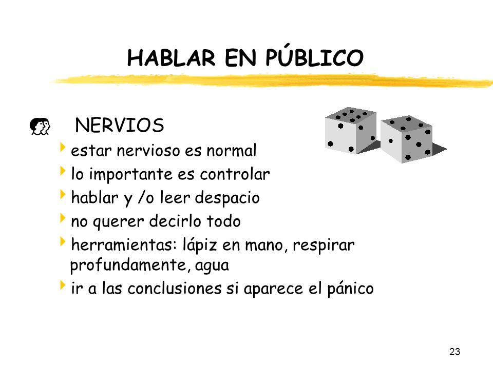 23 HABLAR EN PÚBLICO NERVIOS estar nervioso es normal lo importante es controlar hablar y /o leer despacio no querer decirlo todo herramientas: lápiz