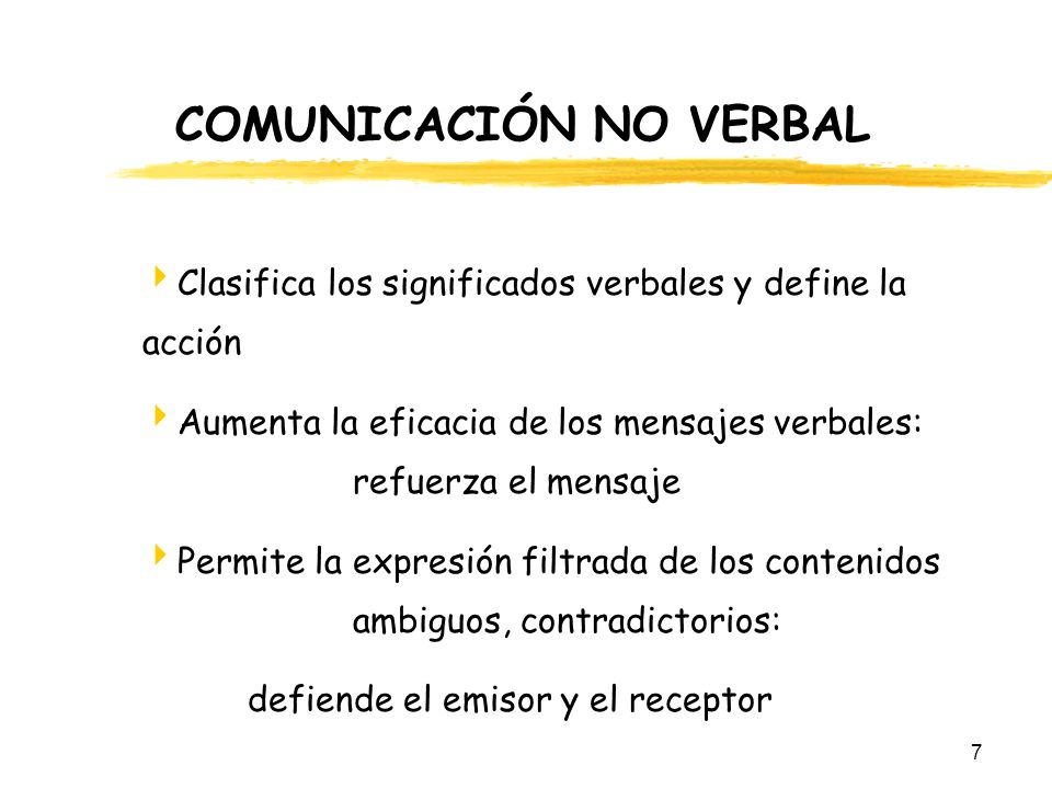 7 COMUNICACIÓN NO VERBAL Clasifica los significados verbales y define la acción Aumenta la eficacia de los mensajes verbales: refuerza el mensaje Perm