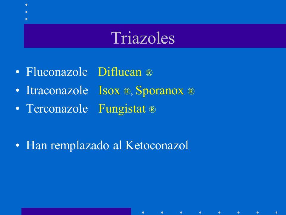 Triazoles Fluconazole Diflucan ® Itraconazole Isox ®, Sporanox ® Terconazole Fungistat ® Han remplazado al Ketoconazol