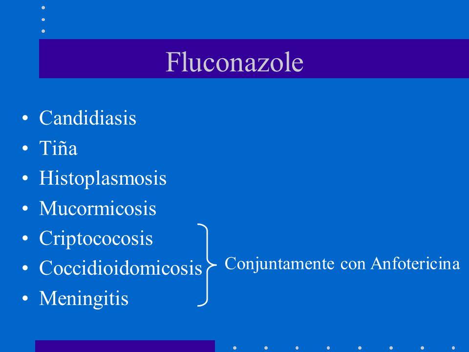 Fluconazole Candidiasis Tiña Histoplasmosis Mucormicosis Criptococosis Coccidioidomicosis Meningitis Conjuntamente con Anfotericina
