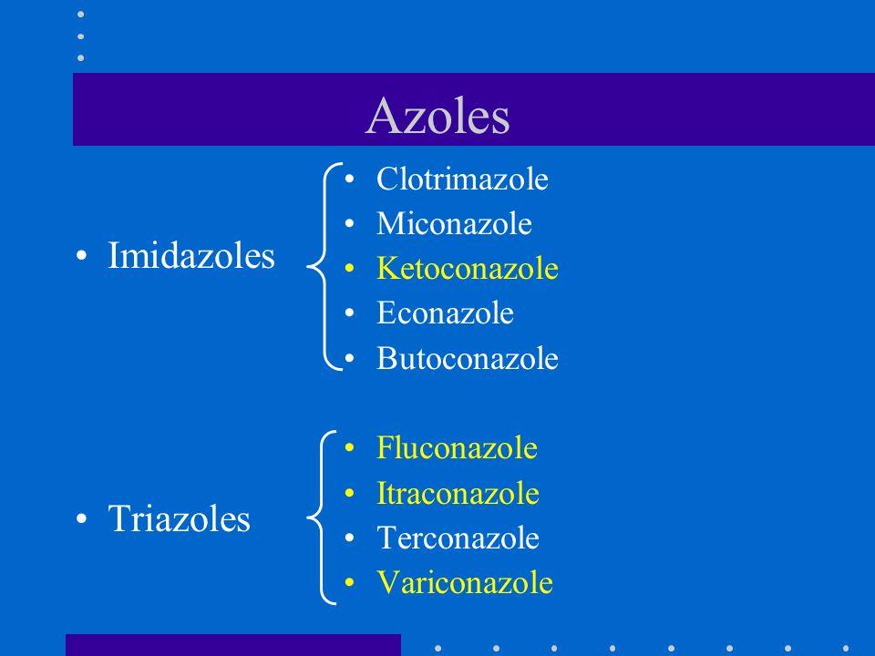 Azoles Imidazoles Triazoles Clotrimazole Miconazole Ketoconazole Econazole Butoconazole Fluconazole Itraconazole Terconazole Variconazole