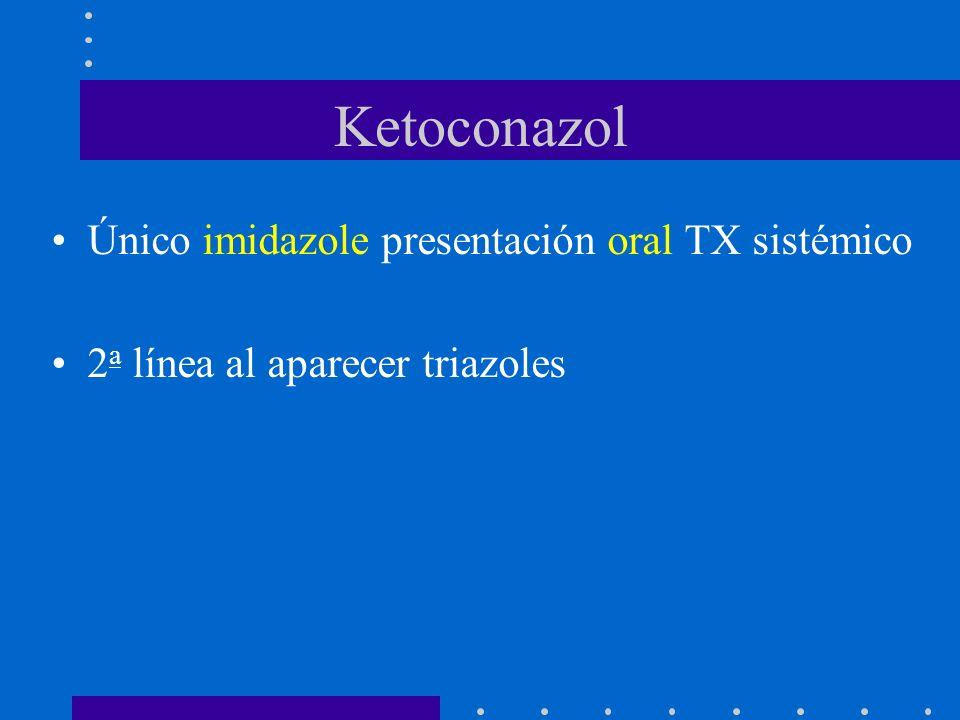 Ketoconazol Único imidazole presentación oral TX sistémico 2 a línea al aparecer triazoles