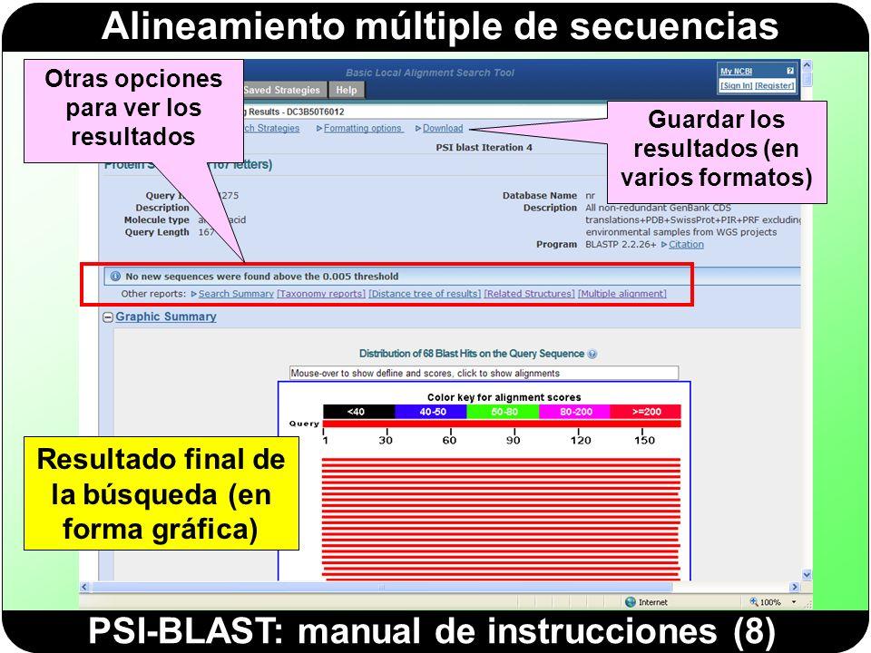 Alineamiento múltiple de secuencias PSI-BLAST: manual de instrucciones (8) Resultado final de la búsqueda (en forma gráfica) Otras opciones para ver l