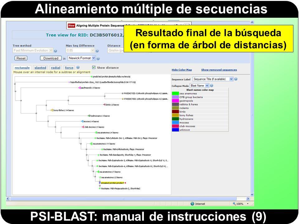 Alineamiento múltiple de secuencias PSI-BLAST: manual de instrucciones (9) Resultado final de la búsqueda (en forma de árbol de distancias)