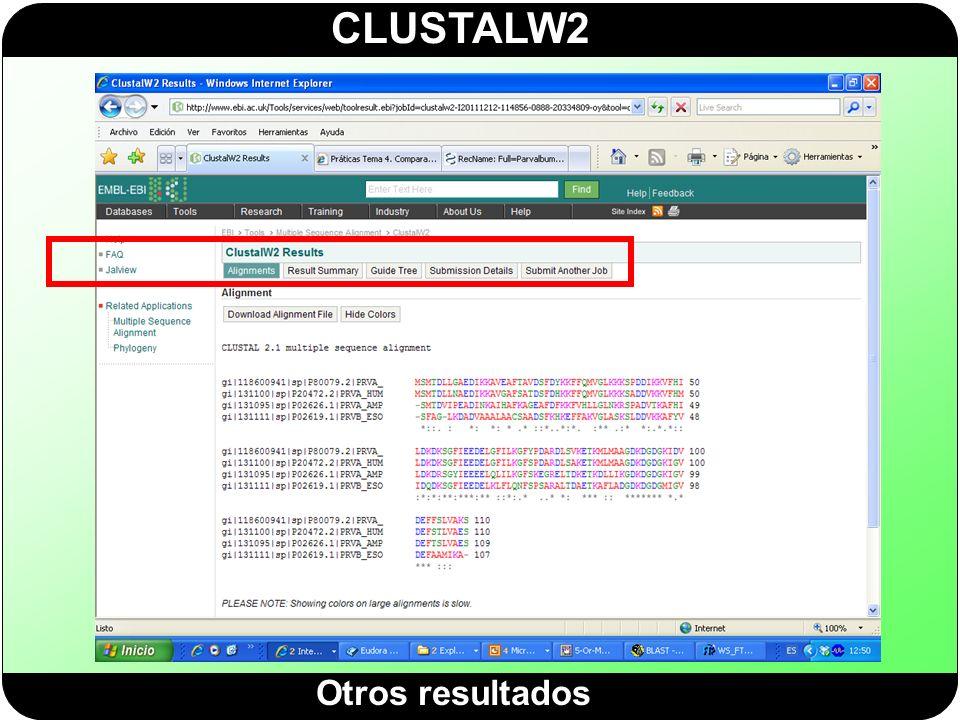 CLUSTALW2 Otros resultados