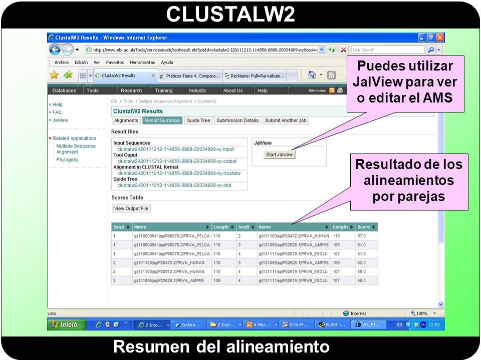 CLUSTALW2 Resumen del alineamiento Puedes utilizar JalView para ver o editar el AMS Resultado de los alineamientos por parejas