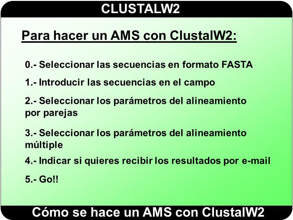 CLUSTALW2 Para hacer un AMS con ClustalW2: 0.- Seleccionar las secuencias en formato FASTA 1.- Introducir las secuencias en el campo 2.- Seleccionar l