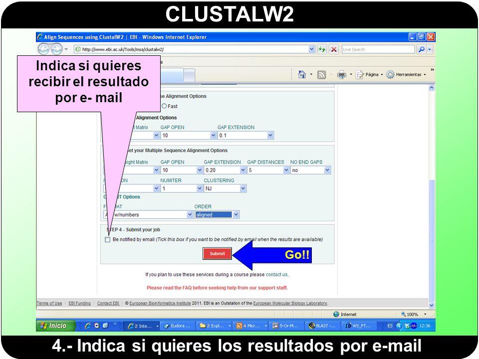 CLUSTALW2 4.- Indica si quieres los resultados por e-mail Indica si quieres recibir el resultado por e- mail Go!!