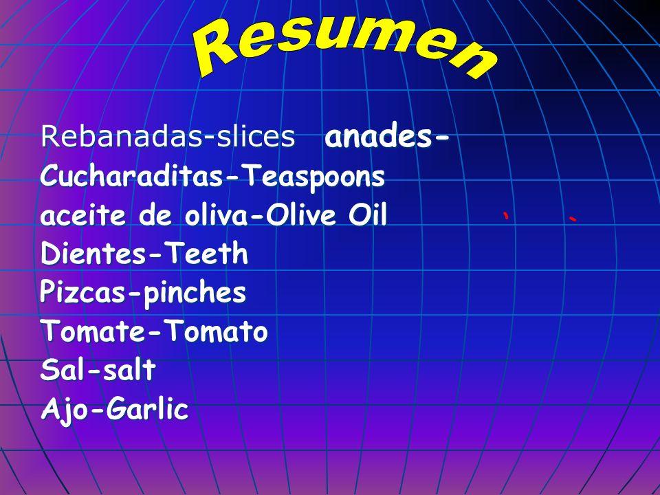 Rebanadas-slices anades- Cucharaditas-Teaspoons aceite de oliva-Olive Oil Dientes-Teeth Pizcas-pinches Tomate-Tomato Sal-salt Ajo-Garlic