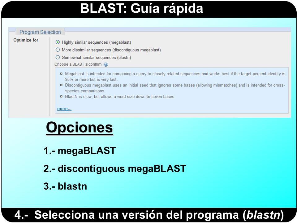 BLAST: Guía rápida 1.- megaBLAST 2.- discontiguous megaBLAST 3.- blastn Opciones 4.- Selecciona una versión del programa (blastn)