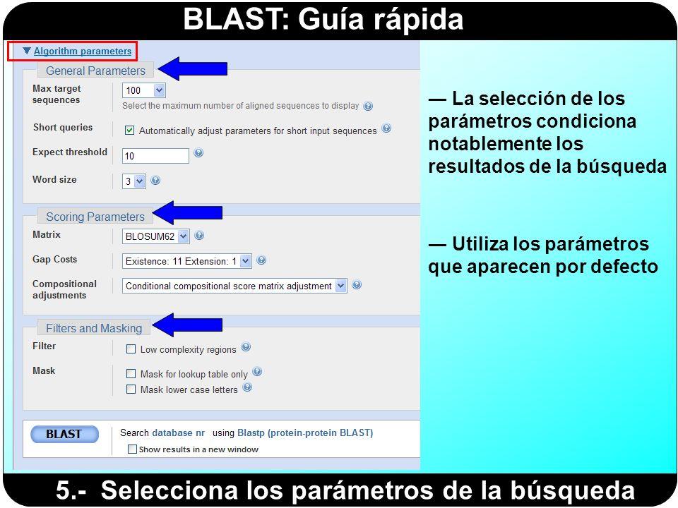 BLAST: Guía rápida 5.- Selecciona los parámetros de la búsqueda Utiliza los parámetros que aparecen por defecto La selección de los parámetros condici