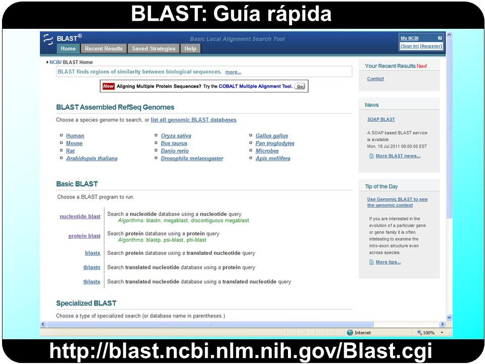 BLAST: Guía rápida http://blast.ncbi.nlm.nih.gov/Blast.cgi