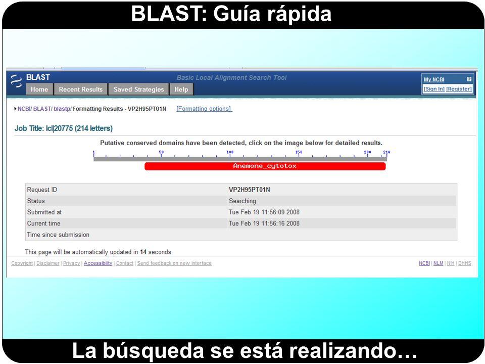BLAST: Guía rápida La búsqueda se está realizando…