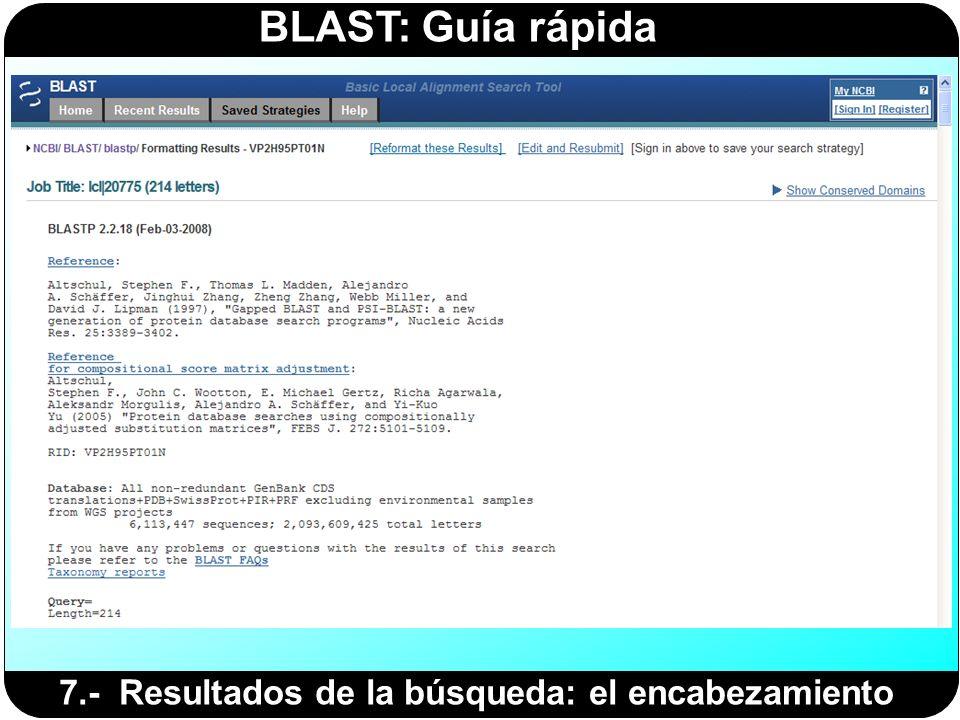 BLAST: Guía rápida 7.- Resultados de la búsqueda: el encabezamiento