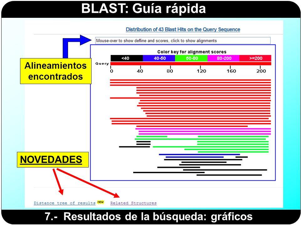 BLAST: Guía rápida 7.- Resultados de la búsqueda: gráficos Alineamientos encontrados NOVEDADES