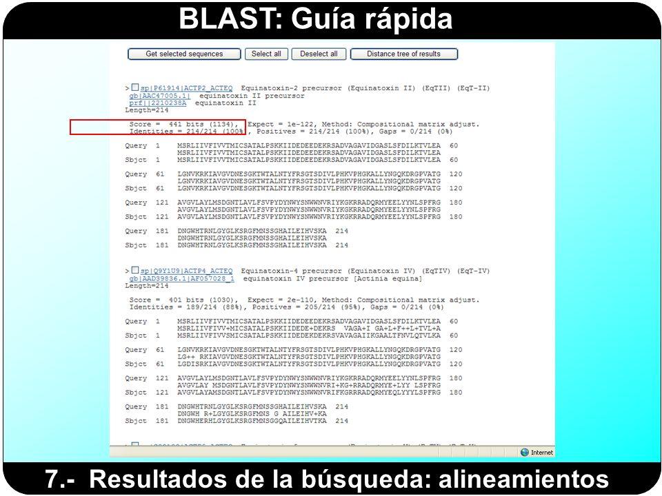 BLAST: Guía rápida 7.- Resultados de la búsqueda: alineamientos