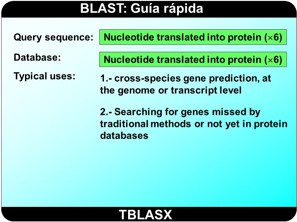 BLAST: Guía rápida TBLASX Query sequence: Database: Typical uses: Nucleotide translated into protein ( 6) 1.- cross-species gene prediction, at the ge