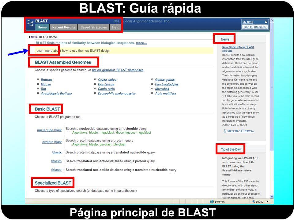 BLAST: Guía rápida Página principal de BLAST
