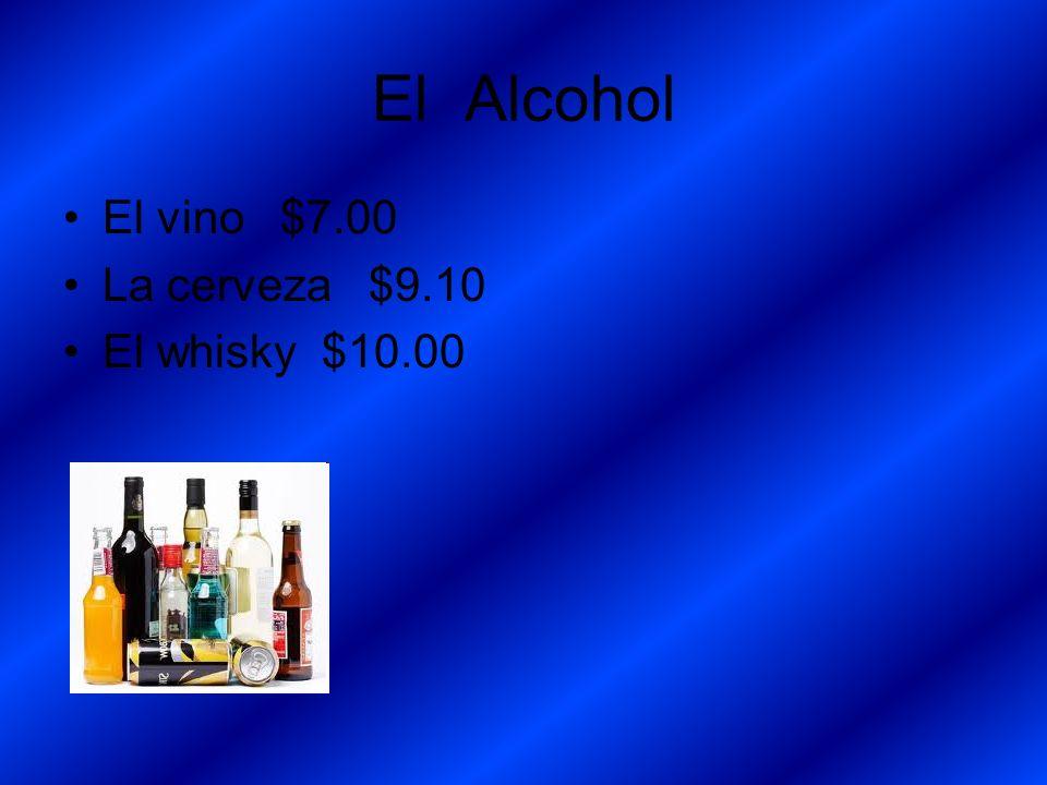 El Alcohol El vino $7.00 La cerveza $9.10 El whisky $10.00