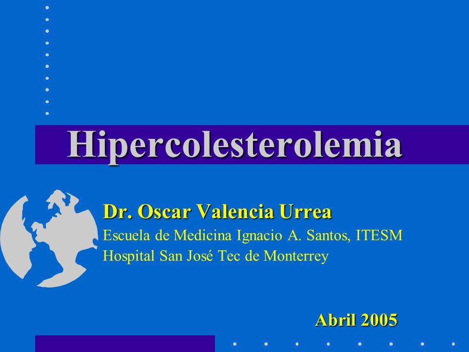 NiñosAdultos Aceptable< 170 mg/dL< 200 mg/dL Elevado> 200 mg/dL> 240 mg/dL Colesterol