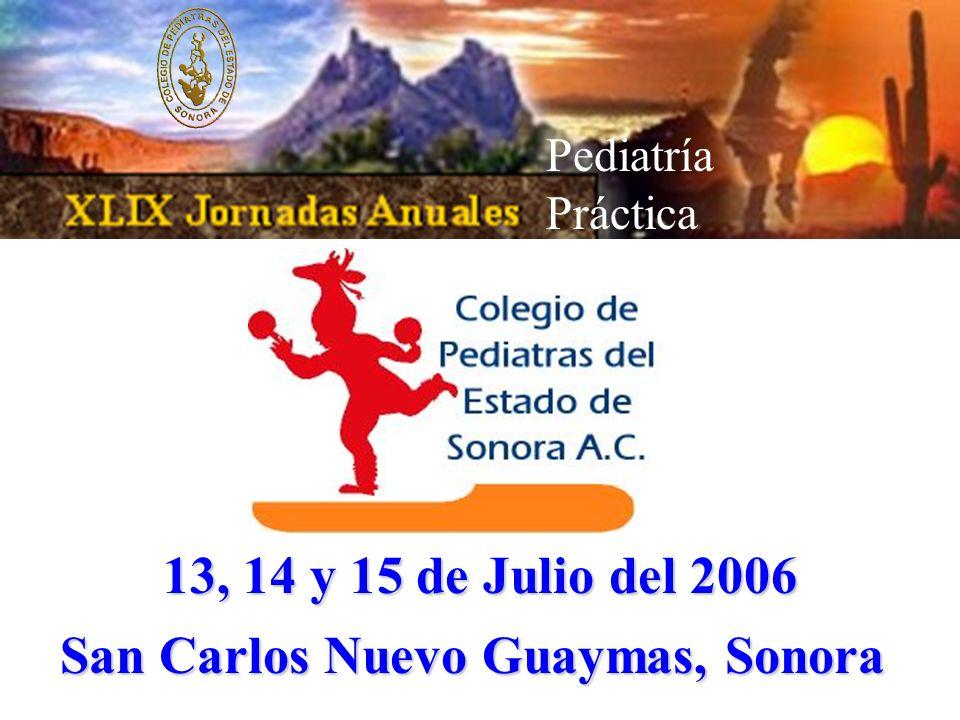 13, 14 y 15 de Julio del 2006 San Carlos Nuevo Guaymas, Sonora Pediatría Práctica