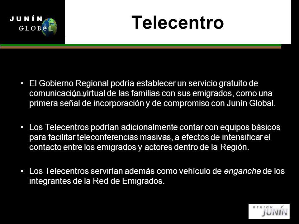 Telecentro El Gobierno Regional podría establecer un servicio gratuito de comunicación virtual de las familias con sus emigrados, como una primera señal de incorporación y de compromiso con Junín Global.