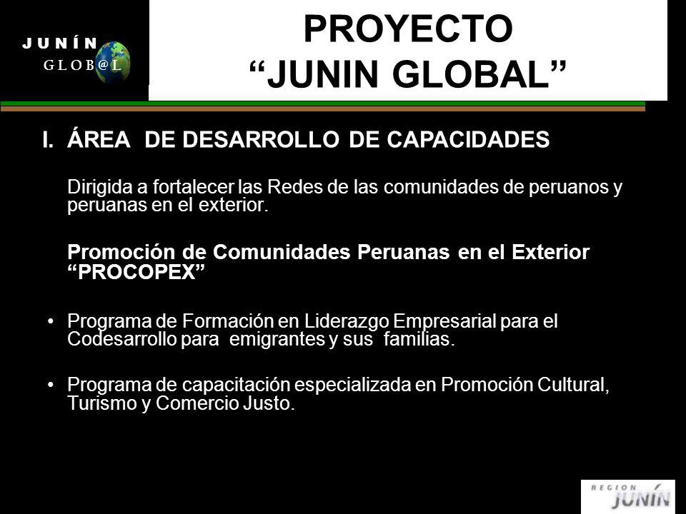 PROYECTO JUNIN GLOBAL Dirigida a fortalecer las Redes de las comunidades de peruanos y peruanas en el exterior.