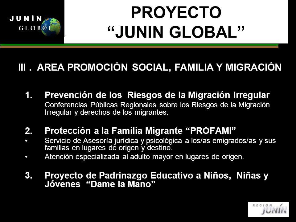 PROYECTO JUNIN GLOBAL 1.Prevención de los Riesgos de la Migración Irregular Conferencias Públicas Regionales sobre los Riesgos de la Migración Irregular y derechos de los migrantes.