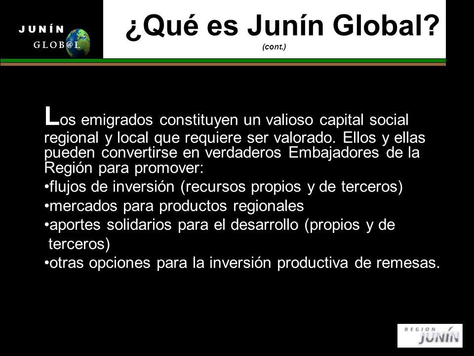 ¿Qué es Junín Global? (cont.) L os emigrados constituyen un valioso capital social regional y local que requiere ser valorado. Ellos y ellas pueden co