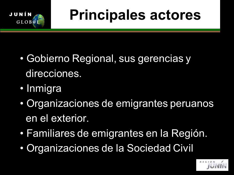 Principales actores Gobierno Regional, sus gerencias y direcciones.