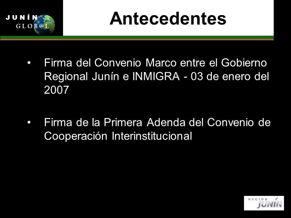 Antecedentes Firma del Convenio Marco entre el Gobierno Regional Junín e INMIGRA - 03 de enero del 2007 Firma de la Primera Adenda del Convenio de Cooperación Interinstitucional J U N Í N G L O B @ L
