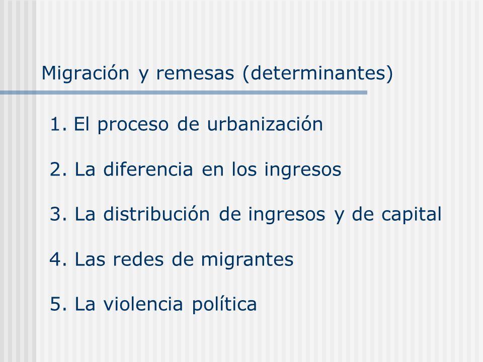 Migración y remesas (determinantes) 1.El proceso de urbanización 2. La diferencia en los ingresos 3. La distribución de ingresos y de capital 4. Las r