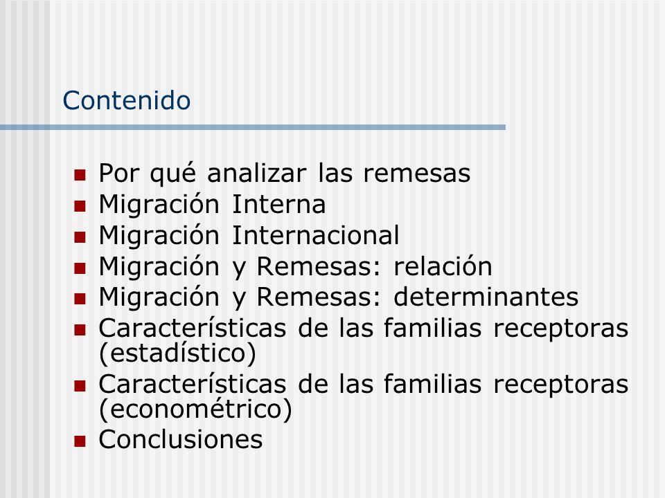 Contenido Por qué analizar las remesas Migración Interna Migración Internacional Migración y Remesas: relación Migración y Remesas: determinantes Cara
