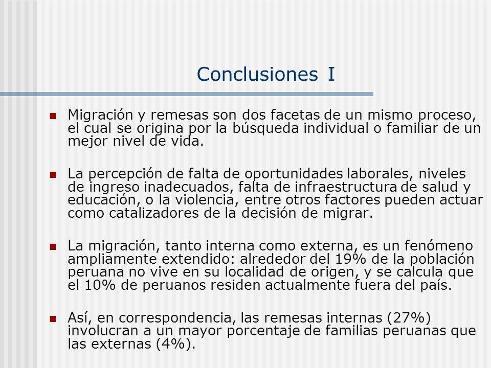 Conclusiones I Migración y remesas son dos facetas de un mismo proceso, el cual se origina por la búsqueda individual o familiar de un mejor nivel de