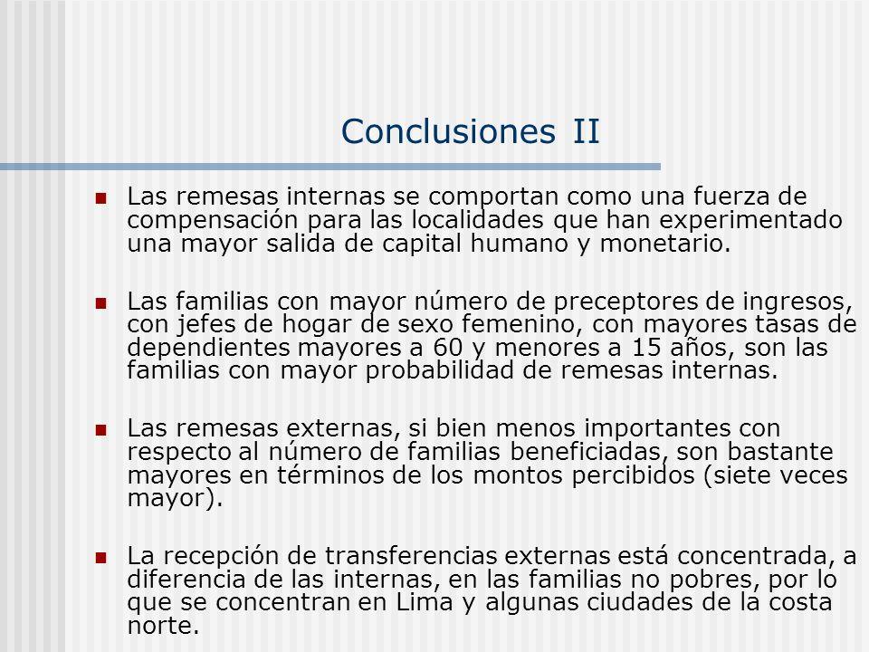 Conclusiones II Las remesas internas se comportan como una fuerza de compensación para las localidades que han experimentado una mayor salida de capit