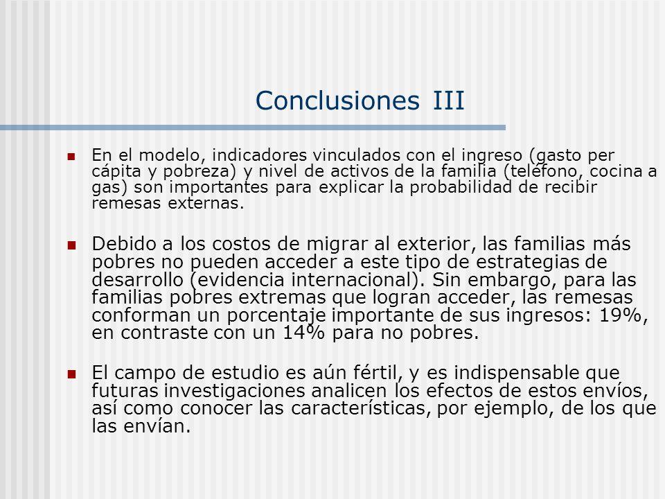 Conclusiones III En el modelo, indicadores vinculados con el ingreso (gasto per cápita y pobreza) y nivel de activos de la familia (teléfono, cocina a