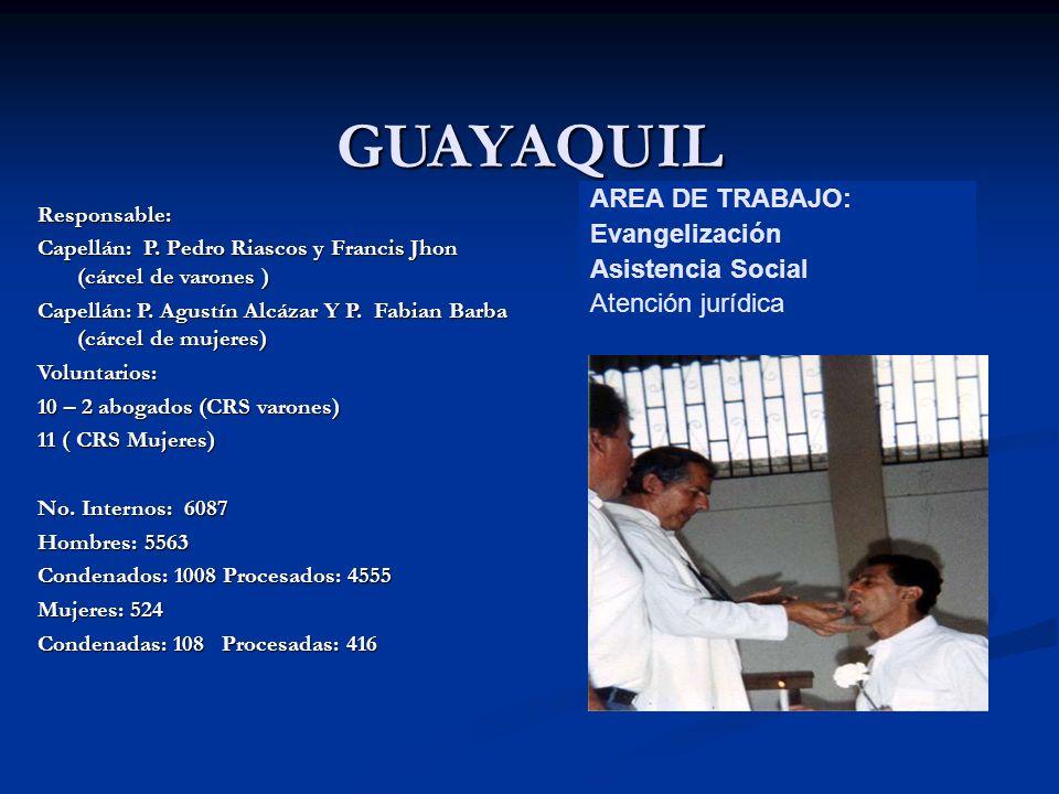 GUAYAQUIL Responsable: Capellán: P. Pedro Riascos y Francis Jhon (cárcel de varones ) Capellán: P.