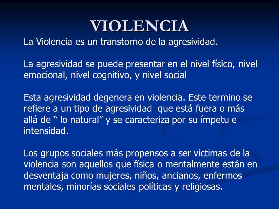 VIOLENCIA La Violencia es un transtorno de la agresividad.