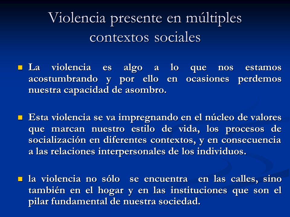 Violencia presente en múltiples contextos sociales La violencia es algo a lo que nos estamos acostumbrando y por ello en ocasiones perdemos nuestra capacidad de asombro.