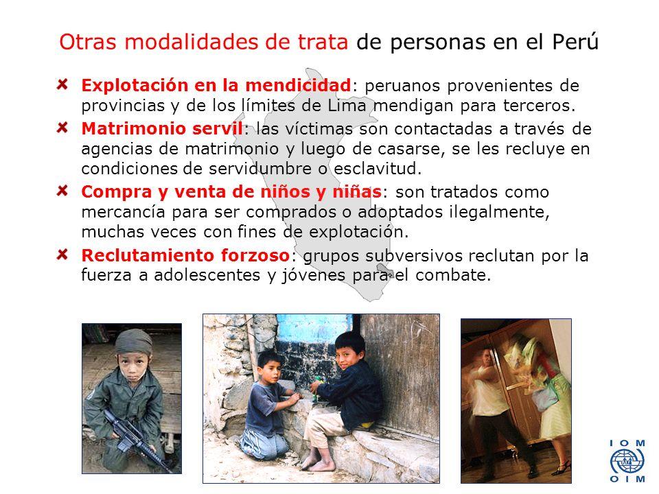 Otras modalidades de trata de personas en el Perú Explotación en la mendicidad: peruanos provenientes de provincias y de los límites de Lima mendigan