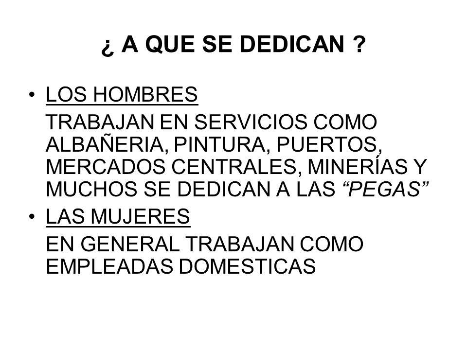 ¿ A QUE SE DEDICAN ? LOS HOMBRES TRABAJAN EN SERVICIOS COMO ALBAÑERIA, PINTURA, PUERTOS, MERCADOS CENTRALES, MINERÍAS Y MUCHOS SE DEDICAN A LAS PEGAS
