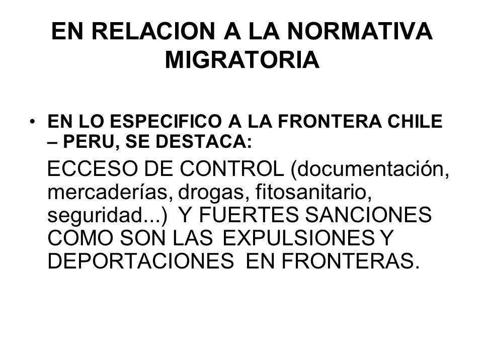 EN RELACION A LA NORMATIVA MIGRATORIA EN LO ESPECIFICO A LA FRONTERA CHILE – PERU, SE DESTACA: ECCESO DE CONTROL (documentación, mercaderías, drogas,