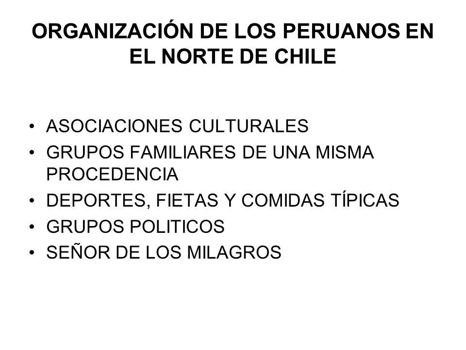 ORGANIZACIÓN DE LOS PERUANOS EN EL NORTE DE CHILE ASOCIACIONES CULTURALES GRUPOS FAMILIARES DE UNA MISMA PROCEDENCIA DEPORTES, FIETAS Y COMIDAS TÍPICA