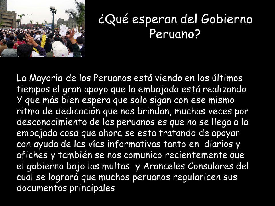 ¿Qué esperan del Gobierno Peruano.